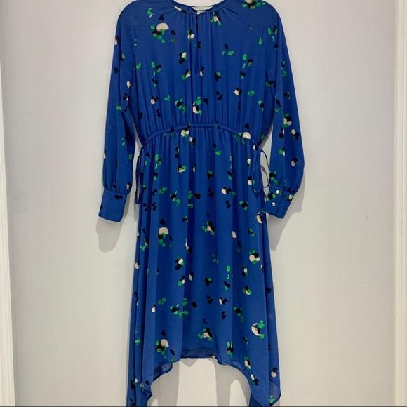 H&M | Blue Long Sleeve Floral Midi Dress